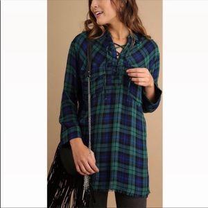 Umgee Lace Up Green & Plaid Fringe Hem Tunic